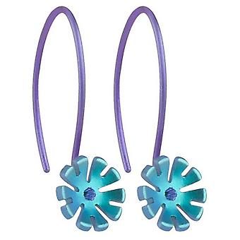 Ti2 titanio 8mm diez pétalos flor pendientes de la gota - Martín pescador azul