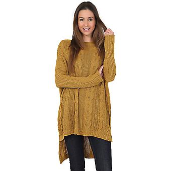 Evvor Womens Crew Cable Knit Long Sleeve Tunic Top