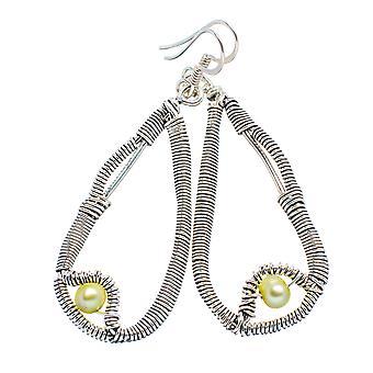 "Gelbe kultivierte Perle Ohrringe 2 1/4""(925er Sterlingsilber) - handgefertigte Boho Vintage Schmuck EARR355298"