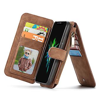 CASEME iPhone X/XS retro nahka lompakko kotelo-ruskea