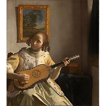 Guitar Player rqw, Johannes Vermeer, 53x 46,3 cm
