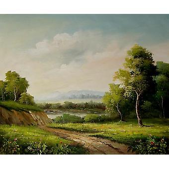 Paesaggio, pittura ad olio su tela, 50x60 cm