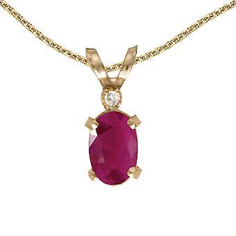 LXR 14k keltainen kulta soikea rubiini ja timantti filagree riipus 0.36ct