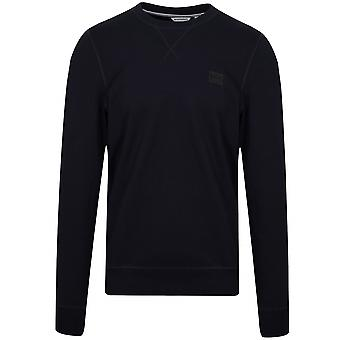 Antony Morato Navy Blue Plaque Logo Crew Neck Sweatshirt