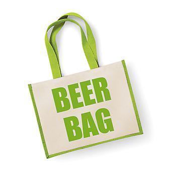 Large Green Jute Bag Beer Bag