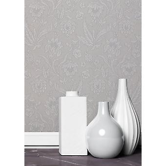Decoração da parede de prata, papel de parede de flor de Milano elegante 5 10,05 m x 0,53 m