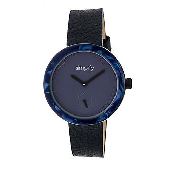 Simplify The 3700 Leather-Band Watch - Black/Navy