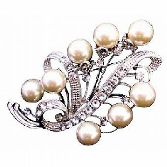Perle Avorio da sposa damigella d'onore Argento Casting gioielli spilla