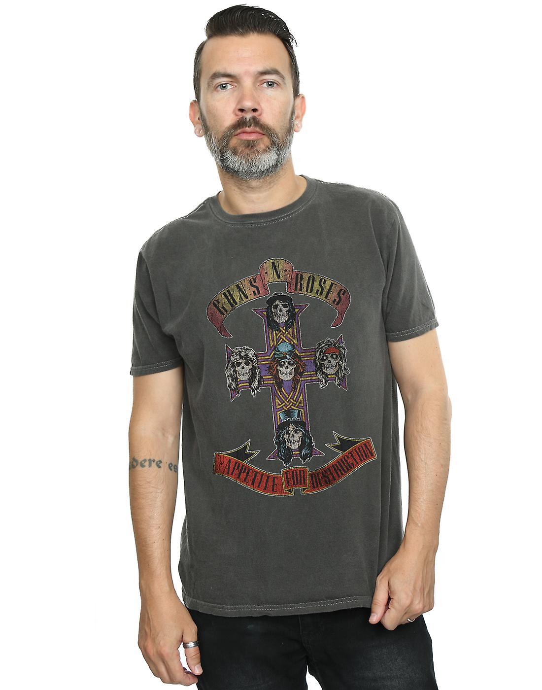 Guns N Roses Men's Distressed Appetite For Destruction Washed T-Shirt