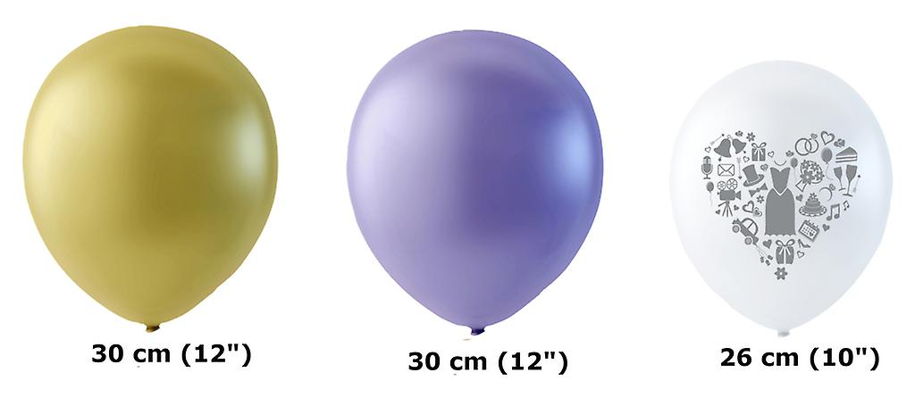 Bröllopsballonger Lila, Ivory och Vita med grått tryck