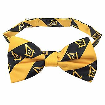 High quality 100% silk masonic bow tie yellow and
