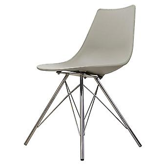 Fusion Living Iconic Light Grey Plastic Dining Chair With Chrome Metal Legs