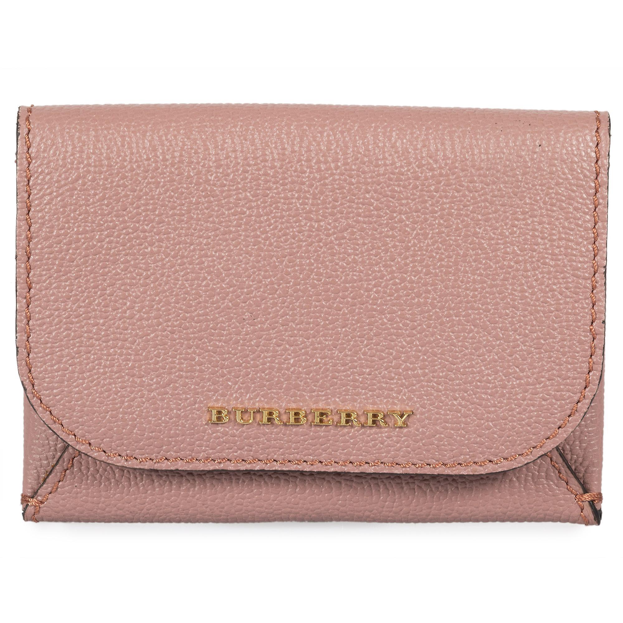 Burberry Haymarket Mayfield skinn kort veske i mørk rosa