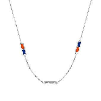 Sam Houston State University Sterling Silver Engraved Triple Station Necklace In Orange & Blue