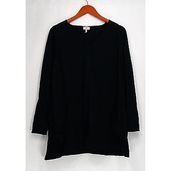 LOGO Lori Goldstein pusero puuvilla sekoitus draped taskut musta A237516