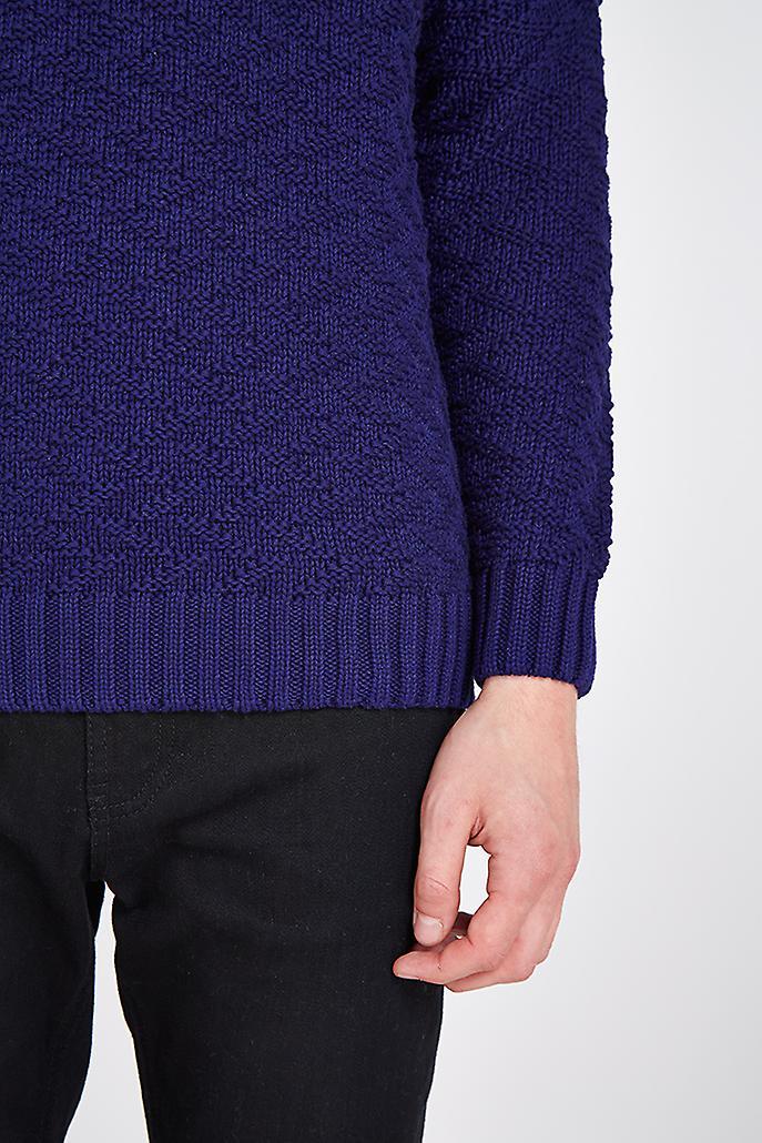Hymn Bangor Herringbone Knit Sweater Navy
