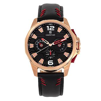 Morphic M82 Series Chronograph Leather-Band Watch w/Date - Rose Gold/Black