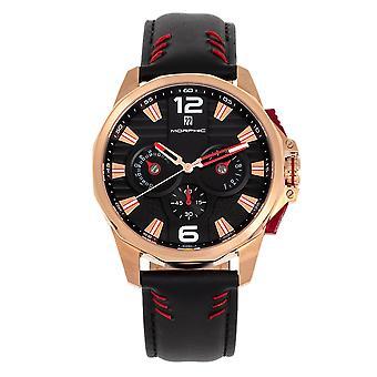 Morphic M82-serien chronograph Leather-band klokke m/date-rose gull/svart