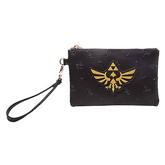 Zelda Purse Golden Tri Force Logo new Official Nintendo Black Pouch
