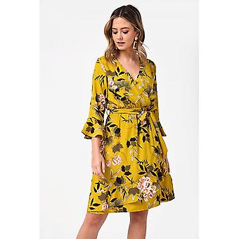 iClothing Shalene Frill Trim Floral Print Wrap Dress In Chartreuse-16