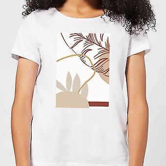 Candlelight Decorative Leaf Print Women's T-Shirt - White