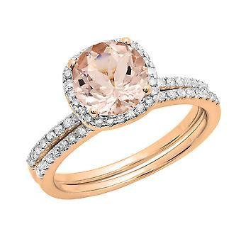 Dazzlingrock Collection 10K 6 MM Round Morganite & White Diamond Bridal Halo Engagement Ring Set, Rose Gold