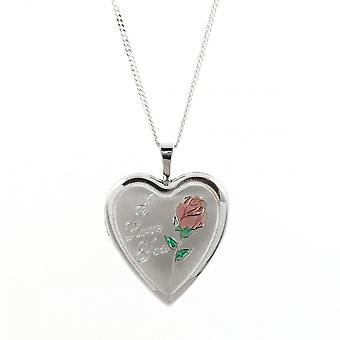 Eternity Sterling Silver Heart 'I Love You' Pattern Locket And 18'' Chain