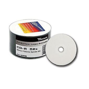Twin Pack Traxdata CD-R 80min Full Face Inkjet stampabile vuoto dischi Ritek 52 X scrivere 50pcs/musica/foto/dati registrabili 700 mb = 100 CDsll Face Inkjet Printable vuoto dischi Ritek 52 X scrivere 50pcs/mandrino CD musica/foto/dati registrabili 700MB