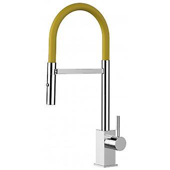 Mezclador de fregadero de cocina de una sola palanca con spout amarillo y ducha de 2 chorros - 185