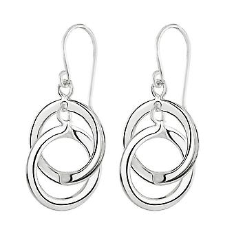 Dew Sterling Silver Double Circle Link Drop Earrings 61003HP028