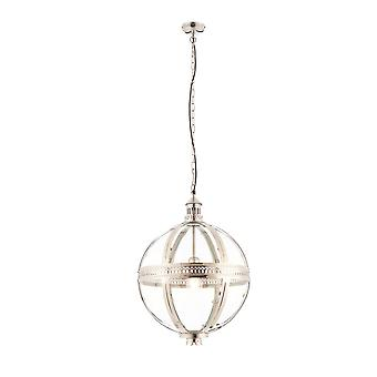 Endon Vienna 1 Light Spherical Pendant Bright Nickel Plated On Solid Brass, Glass 73108