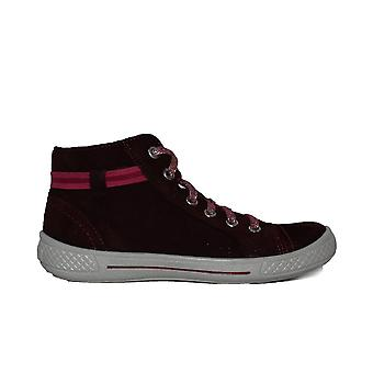 Superfit 00092-50 Red Leather Girls Lace Up Hi Top Casual Trainer Shoe