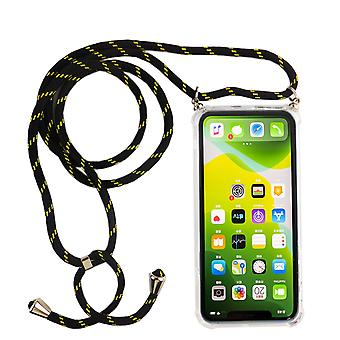 Phone Chain for Apple iPhone 11 - Smartphone Necklace Case with Band - Cord with Case to Hang In Black