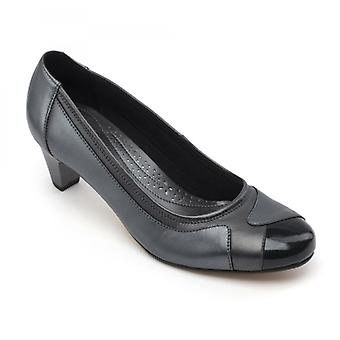 Padders Jewel Ladies Leather Extra Wide (2e) Shoes Navy Pearl