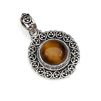 Amuleto de caneta de corrente prata 925 Sterling Silver Tiger Eye Brown Stone (Não: MAH 104-18)