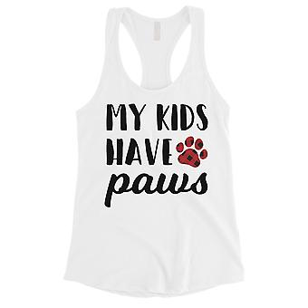 My Kids Have Paws Womens White Workout Tank Top Gift For Dog Owners