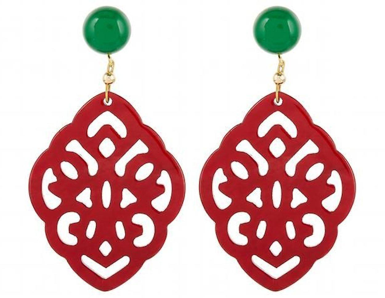 Gemshine Ohrringe grüne Chalcedoen, Schildpatt Harz Tropfen 925 Silber Vergoldet