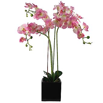 90cm Artificial Orchid Light Pink in Ceramic Cube Planter