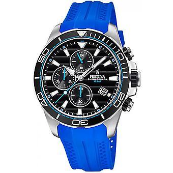 F20370-5 Originale Festina Watch - blaue Harz Armband Stahl schwarzes Zifferblatt Mann