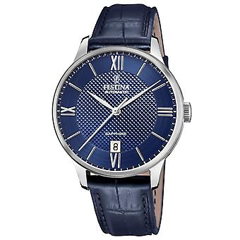 Festina F20484-3 Uhr - AUTOMATIC Dateur Tier Stahl Silber Leder Armband blau Leder Männer