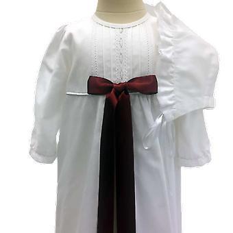 Dopklänning I Bomull Med Hätta, Vinröd Rosett - Grace Of Sweden