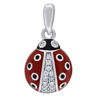 925 Sterling Silver Mens Women CZ Red Enameled Ladybug Charm Pendant Necklace Measures 18.6x10.2mm Wide Jewelry Gifts fo