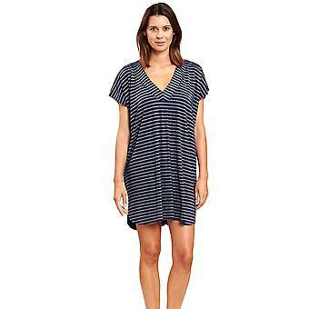 Féraud 3205100-16350 Women's Ringlet Navy Blue Striped Beach Dress