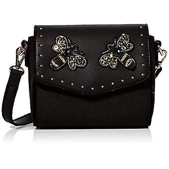 BESSIE LONDONSmall Flap Top Bee Studded Cross Body Women's Strap Bag (Black)5x18x15 Centimeters (W x H x L)
