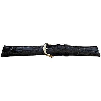 Genuine crocodile watch strap black premier flat high shine size 6mm to 22mm