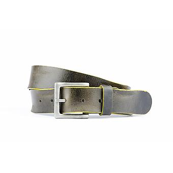 Vintage Tough Black Belt With Contrasting Yellow Edge