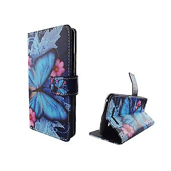 Mobile phone case pochette pour mobile WIKO Lenny 3 blue butterfly
