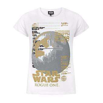 Star Wars Rogue One Metallic Death Star White Girl's T-Shirt