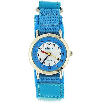 The Olivia Collection Analogue White Dial Blue Easy Fasten Kids Watch TOC128