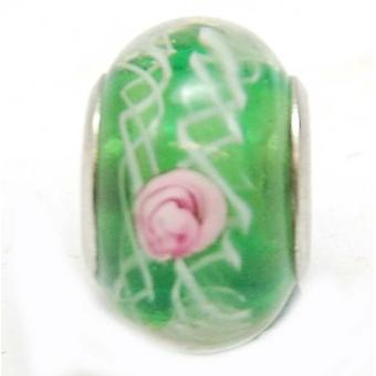 TOC BEADZ Green Rose 9mm Glass Slide-on Bead